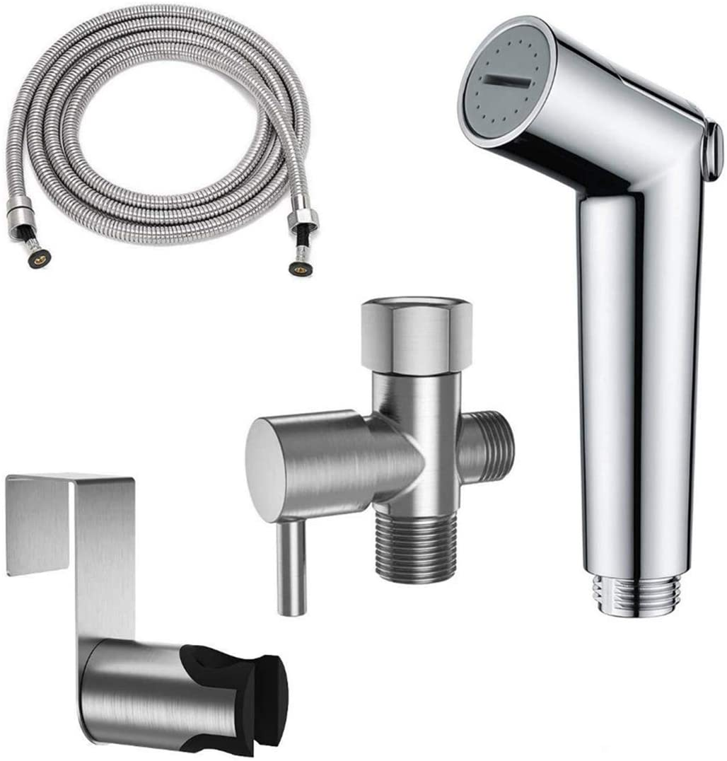 SADALAK Handheld Bidet Sprayer for Toilet with Stainless Steel Leakproof Hygiene Hose Accessories,Wall or Toilet Mount Easy Install for Baby Cloth Diaper,Bidet Toilet Cleansing