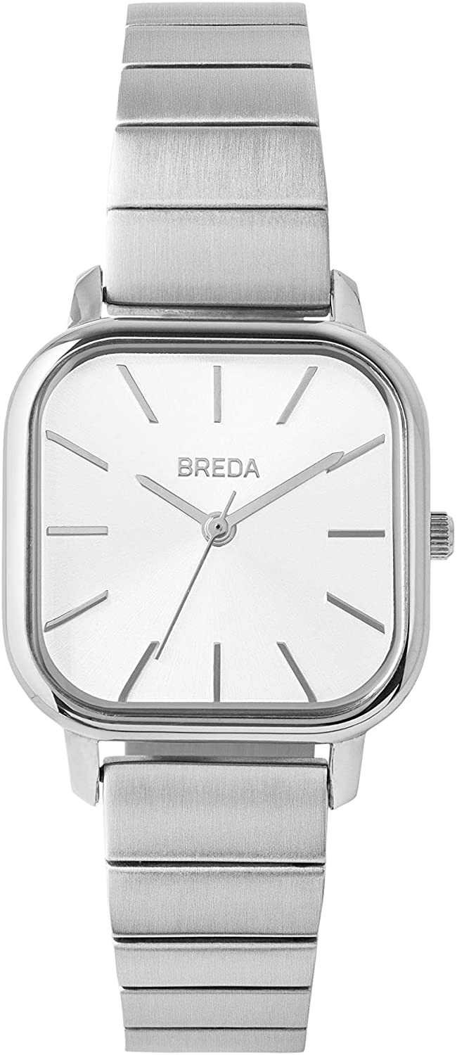 BREDA Esther 1735 Square Wrist Watch with Stainless Steel Bracelet, 26mm