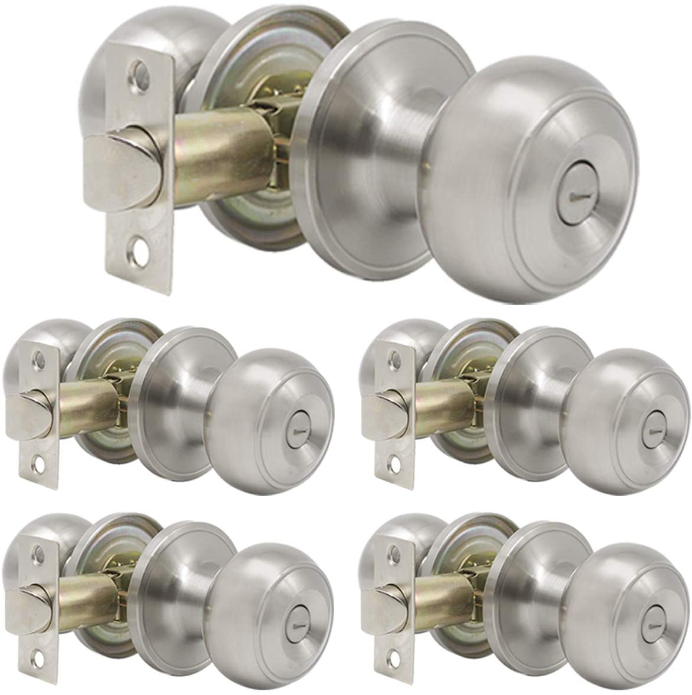 Gobrico Round Lever Door Knob Privacy Keyless Door Lock for Bedroom and Bath, Satin Nickel 5 Pack