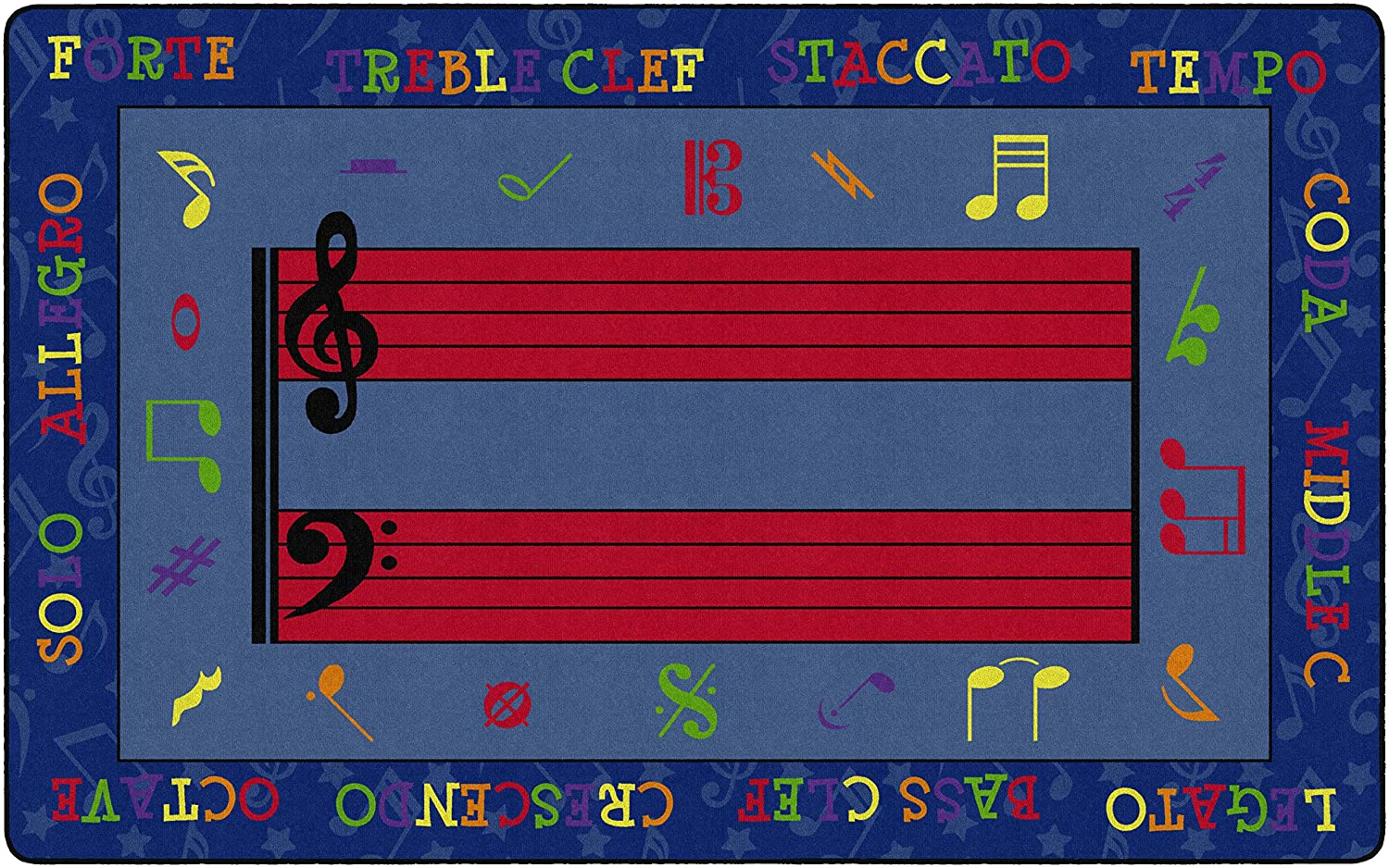 Flagship Carpets Fun with Music Colorful Musical Notes Area Rug for Children's Learning Classroom or Kids Bedroom Activity Rug, 7'6