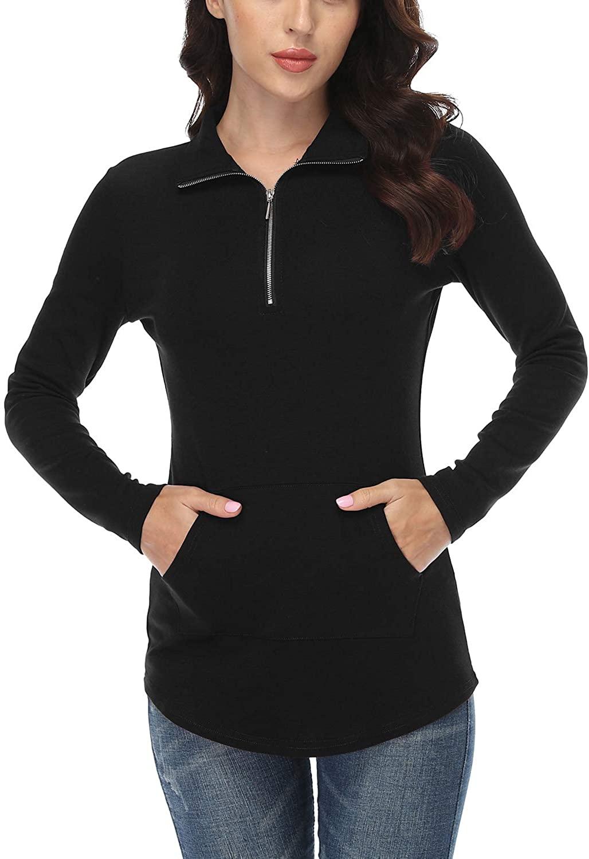 andy & natalie Womens Quarter Zipper Pullovers Tunic Sweatshirts Top with Kanga Pockets
