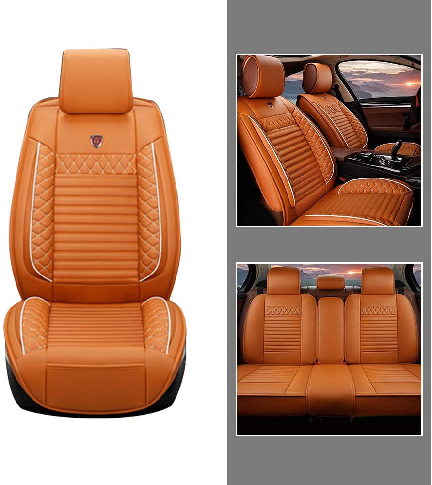 All Season Leather Seat Covers Full Set for Lexus ES RX NX IS LS CT UX GS GX Car Front + Rear Row Seat 3D Protection Breathable & Comfortable Cayenne Yellow