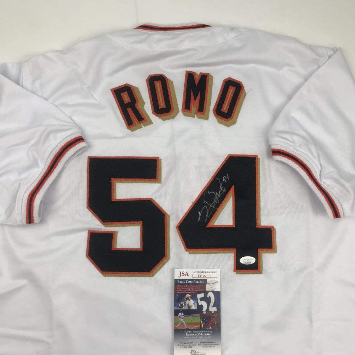 Autographed/Signed Sergio Romo San Francisco White Baseball Jersey JSA COA