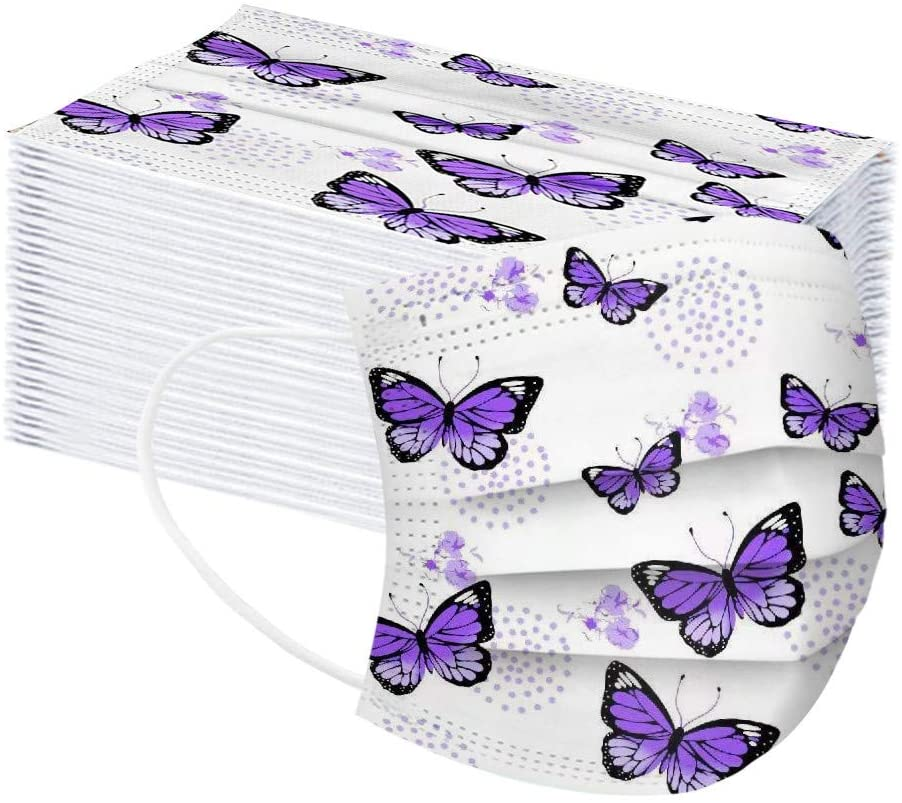 10/20/30/40/50/100PCS Adults Butterfly Printing Mask Disp0sable Protection 3 Layer Face Mask Breathable Printing Mask PM2.5 Breathable Mouth Mask Unisex Face Mask Print Industrial 3Ply Ear Loop Mask