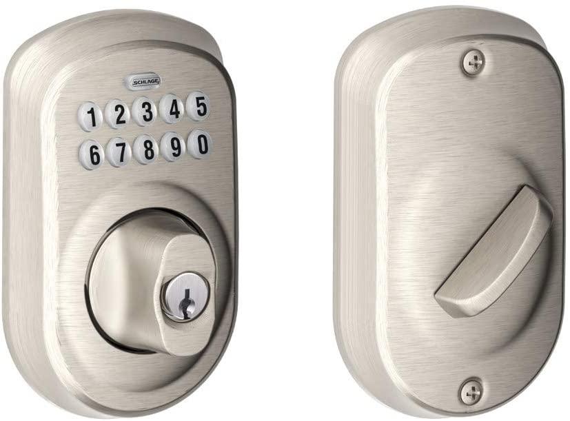 SCHLAGE BE365 Plymouth Electronic Keypad Deadbolt C Keyway with 12287 Latch 10116 Strike Satin Nickel Finish