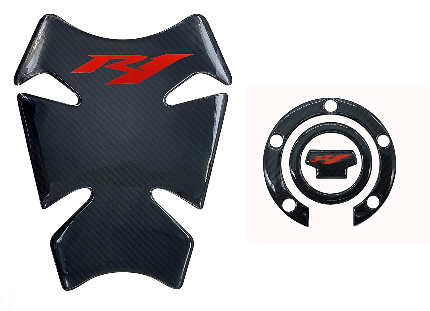 8.7 inches Real Carbon Fiber 3D Sticker Vinyl Decal Emblem Protection Gas Tank Pad & Cap Cover For YAMAHA YZF R1 2000-2015