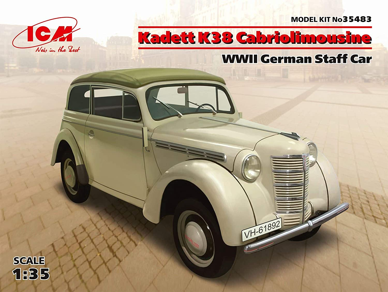 ICM 35483 Kadett K38 Cabriolimousine WWII German Staff Car, 1/35 Scale Plastic Model Kit