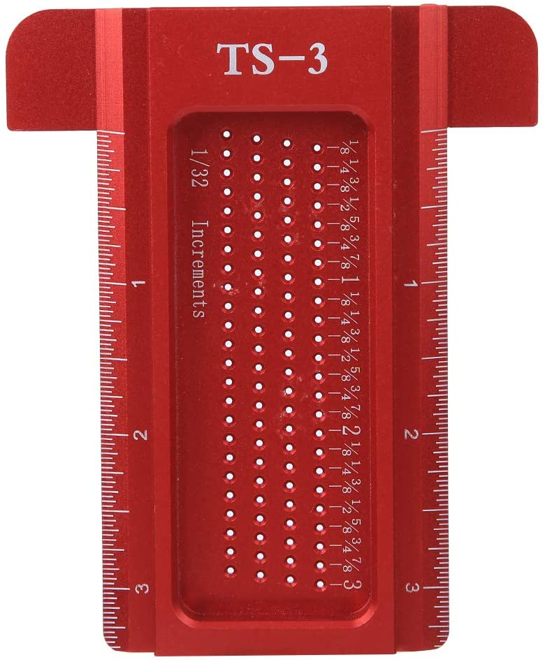 TS-3 Woodworking Ruler, Aluminum Alloy 6061 Measuring Tool Scriber Mark Woodworking Hole Positioning Crossed Gauge Ruler for CNC Precision Machining(Red)