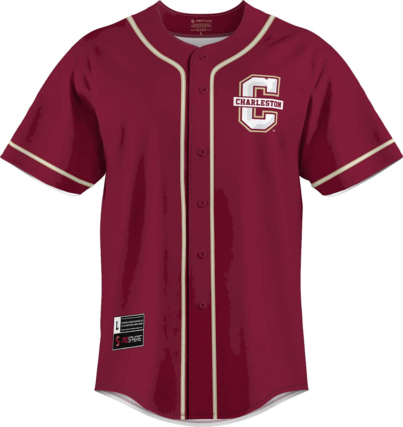 ProSphere College of Charleston University Mens Replica Baseball Jersey - 3 Color Piping