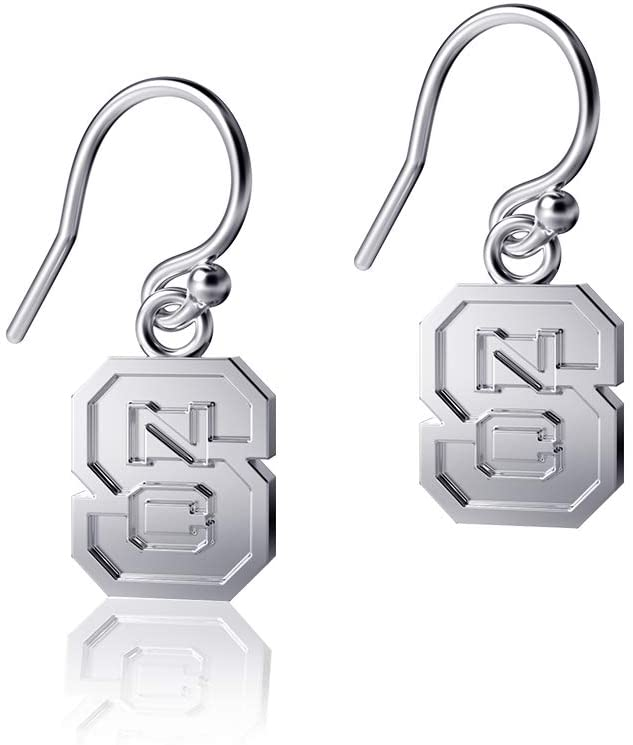 Dayna Designs NC State University Dangle Earrings, Wolfpack Block S Logo - Sterling Silver Jewelry Small for Women/Girls