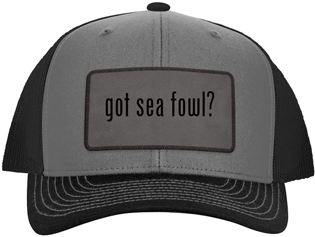 One Legging it Around got sea Fowl? - Leather Grey Patch Engraved Trucker Hat