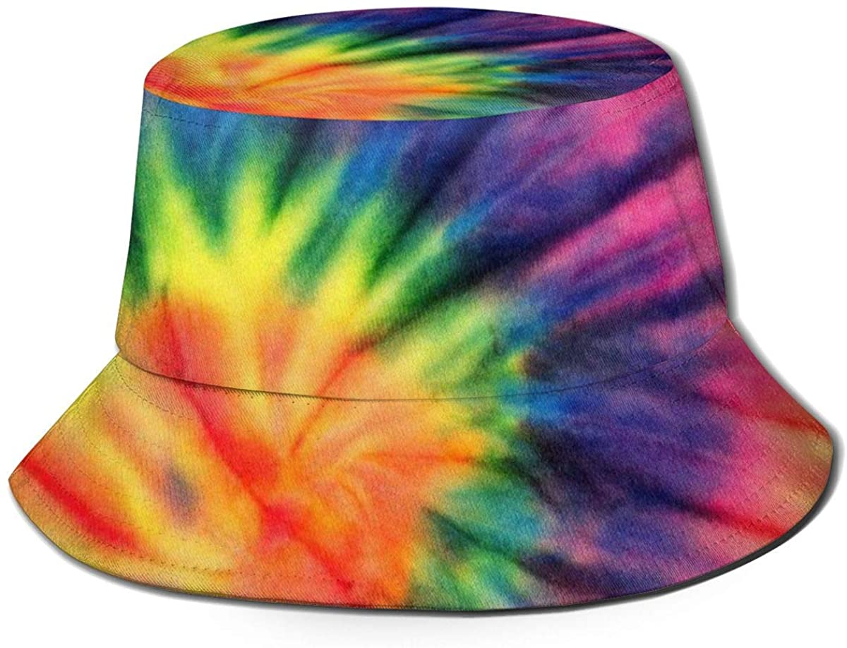 Sun Hat for Men&Women-Summer Cap with UV Protection-UPF 50 Outdoor Bucket Hat-Spiral Tie Dye Pattern
