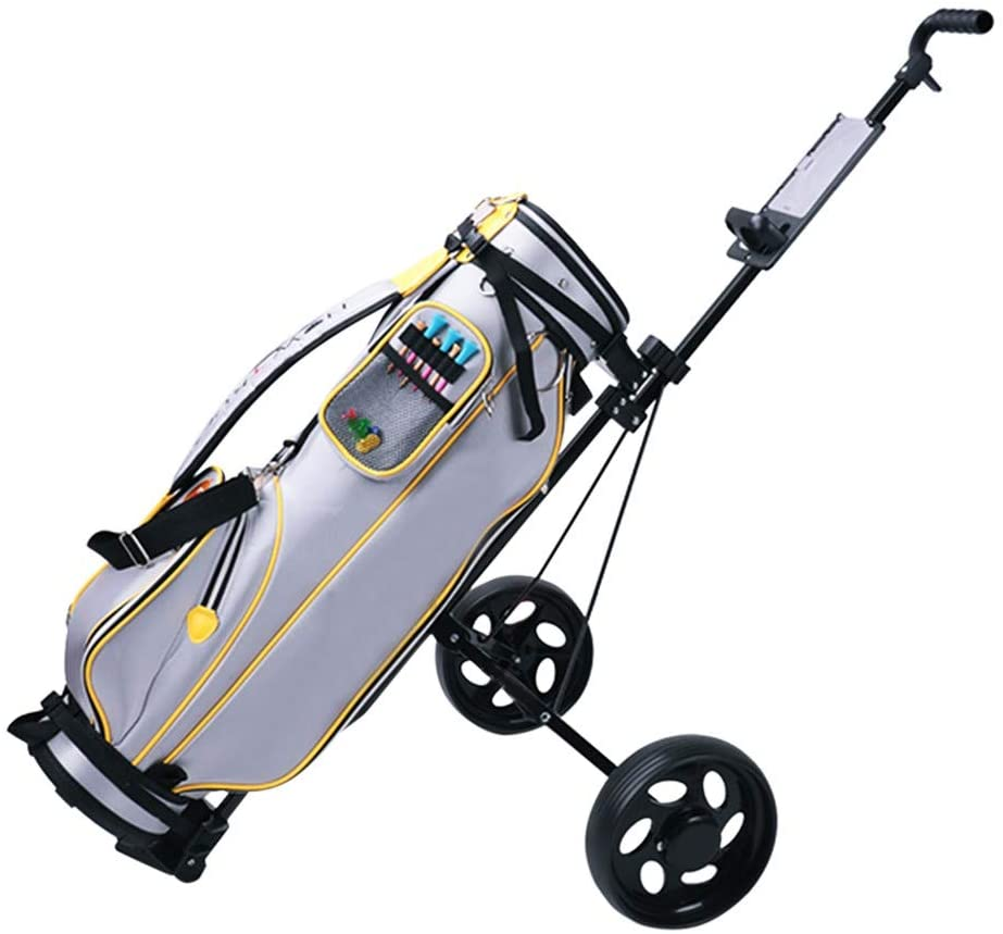 Foldable 2 Wheels Golf Push Pull Cart - Foldable Portable Lightweight Pushcart with Foot Brake & Adjustable Handle & Cup Holder Trolley Swivel Wheels, Save Space and Durable, for Golf Game