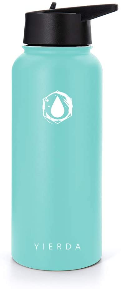 yierda Outdoor Travel Sports Bottle, Double-Layer Stainless Steel Insulated Cold Water Bottle, 32 Ounces
