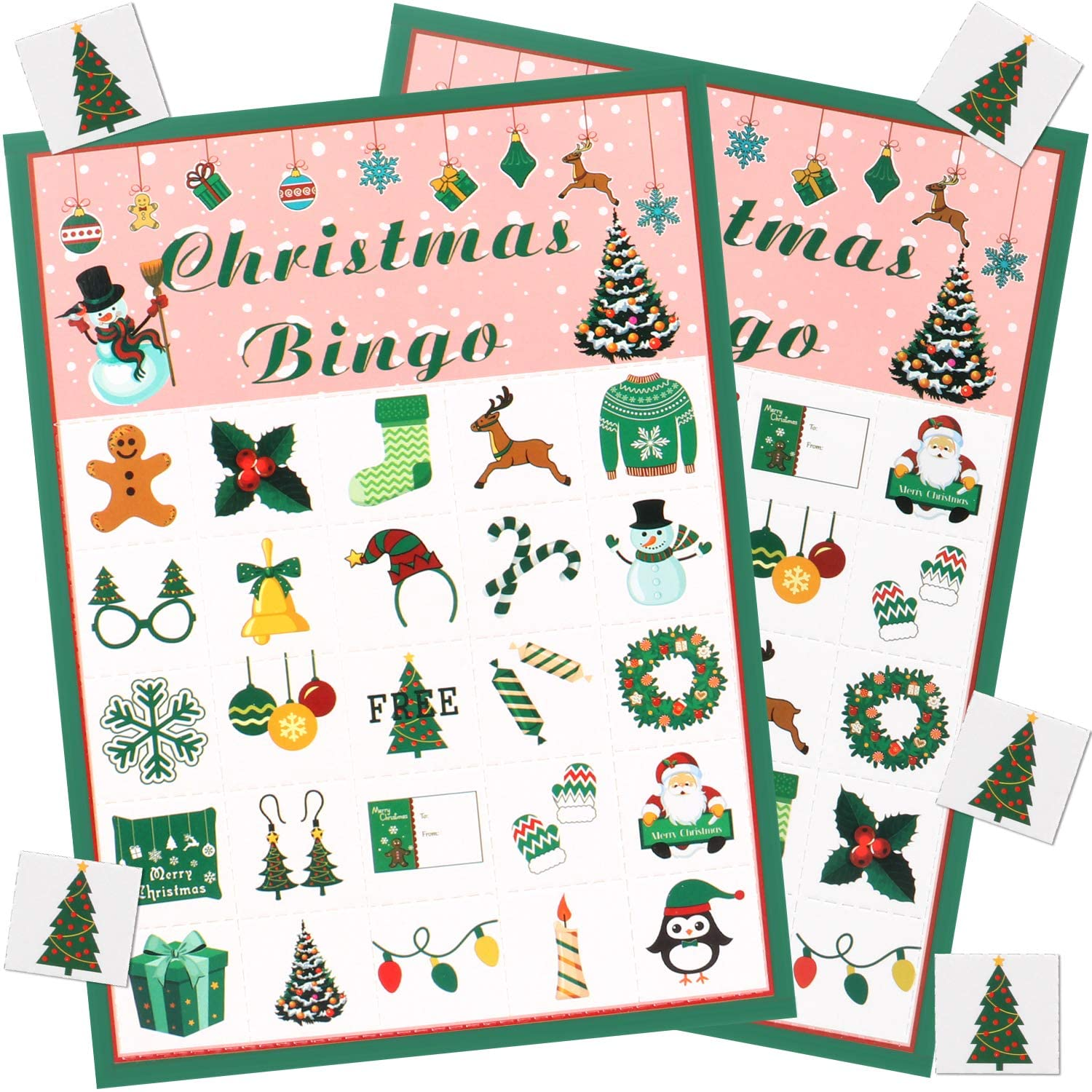 HOMENOTE Christmas Bingo Game for Large Group - Kids Xmas Activities Cards Adult Family Games Party Supplies for Holiday Thanksgiving Classroom Crafts by Gamenote (24 Players)