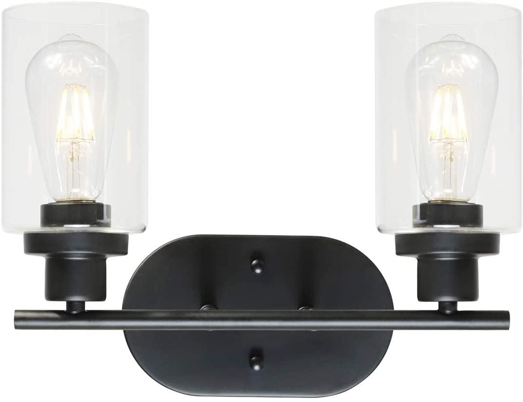 VINLUZ 2 Light Black Bathroom Wall Light with Clear Glass Shade Vanity Lighting
