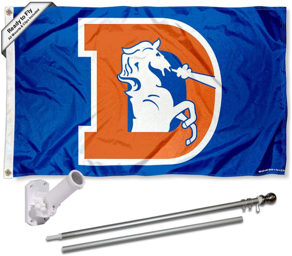 WinCraft Denver Broncos Retro Flag Pole and Bracket Kit