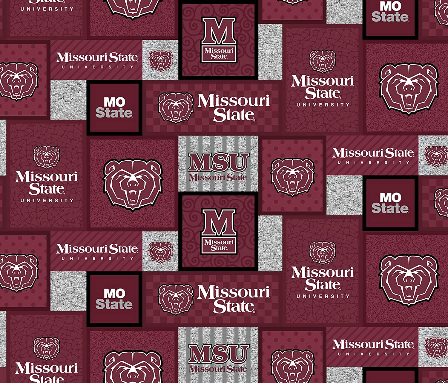 Missouri State University Fleece Blanket Fabric with New Patch Design-Sold by The Yard-SYKEL NCAA Fleece Fabric