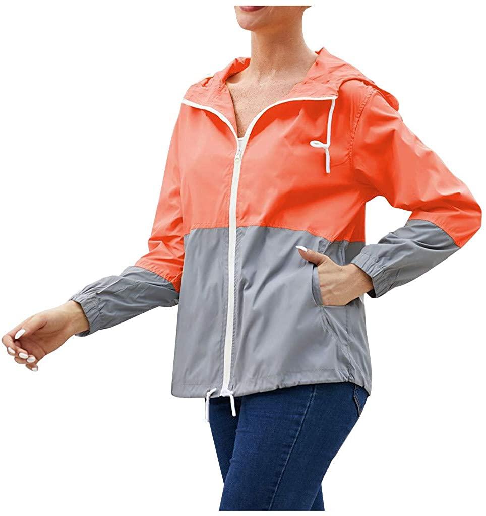 Lcyyt Women's Full Zip Hoodie Jacket Fast Drying Waterproof Outdoor Lightweight Hooded Sweatshirt Athletic Workout