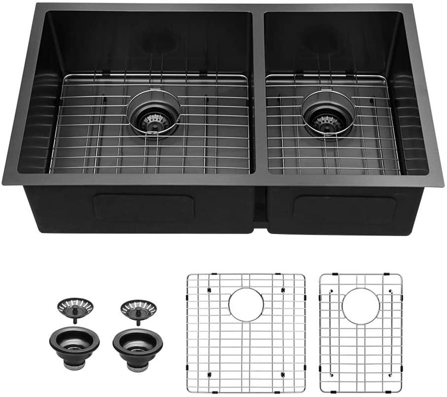 33 Undermount Sink - Sarlai 33 inch Kitchen Sink Matte Black Double Bowl Divide 16 Gauge Undermount 60/40 Stainless Steel Kitchen Sink Basin