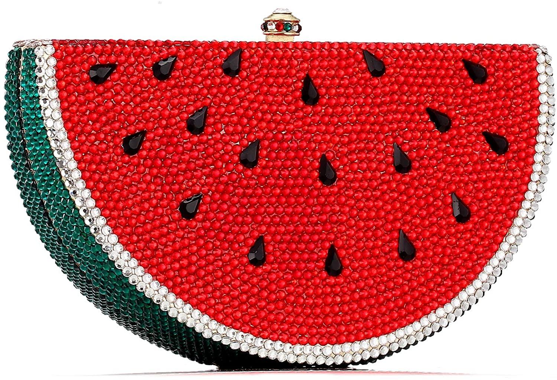 Watermelon Shape Rhinestone Clutch Bags Women's Luxury Full Diamond Color Crystal Evening Bags Metal Chain Mini Handbag
