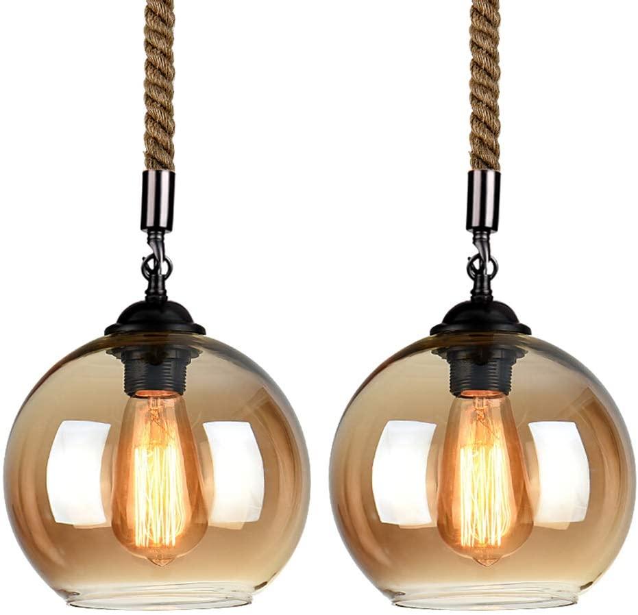 Vintage Hemp Rope Ball Glass Ceiling Pendant Light Industrial Retro Glass Shade Hanging Fixture Chandelier, E26 Edison Bulb, Cord Length Adjustable, for Restaurant Bar Dining Room Living Room