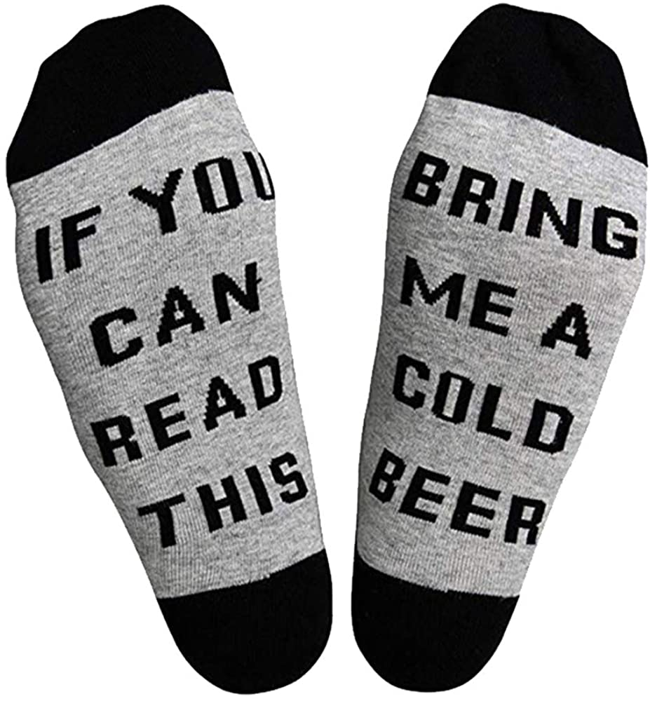 YELAIVP Novelty Food Drink Crew Socks If You Can Read This Funny Saying Beer Coffee Tacos Bacon Cotton Sock Men Women Gift