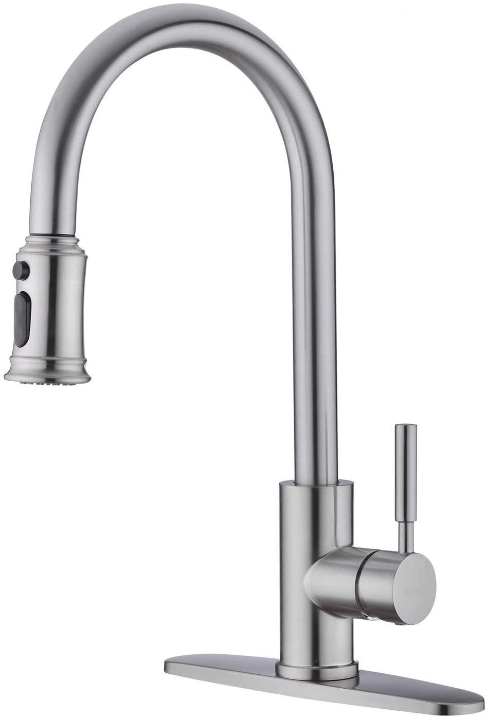 EKRTE Single Handle 1 or 3 Hole High Arc Brushed Nickel Kitchen Faucet with Pull Out Sprayer, Stainless Steel Pull Down Kitchen Sink Faucet With Deck