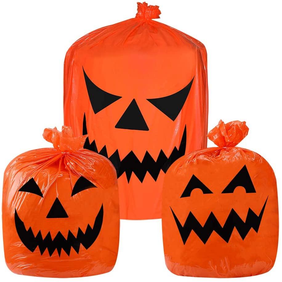 Halloween Pumpkin Plastic Trash Bags for Outdoor Fall Leaf Bags Halloween Decoration