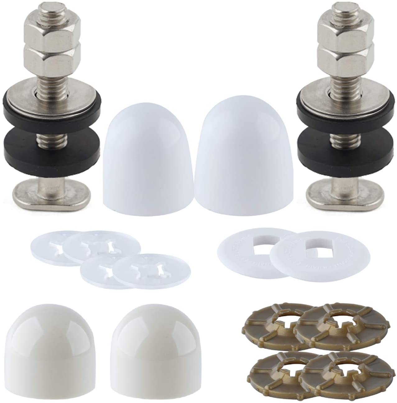 Toilet Floor Bolts And Caps Set,Stainless Steel Washers And Round Cover Caps Toilet Bolt Kit, White