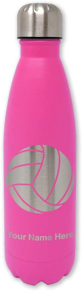 LaserGram Double Wall Stainless Steel Water Bottle, Volleyball Ball, Personalized Engraving Included