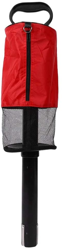 Portable Golf Ball Picker Pocket-Golf Ball Pick-Up Bag Retrievers Pocket Storage Bag Scooping Device Red