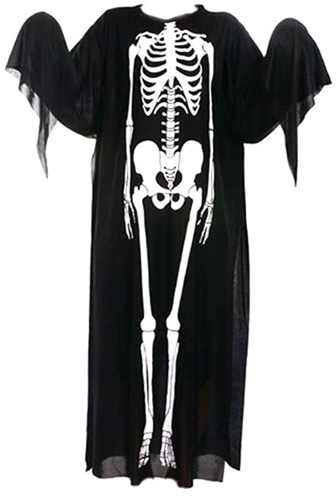 Yunlife Halloween Ghost Robes, Skull Skeleton Printing Cloak Cosplay Costumes for Men and Boys