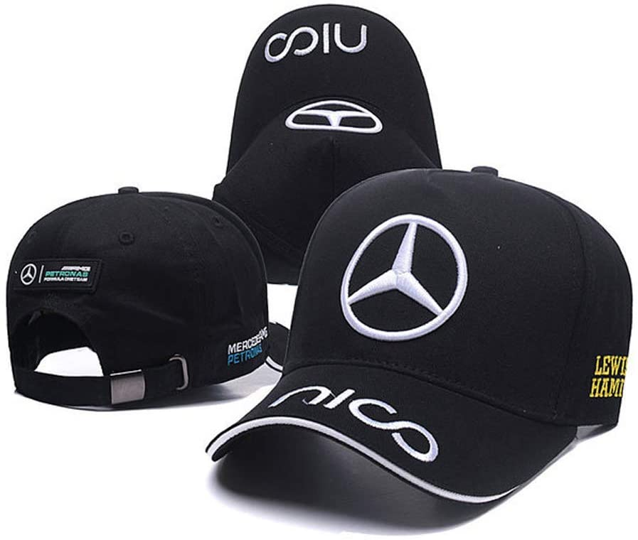 HiSport Classic Car Logo Baseball Cap F1 Racing Hat Fit Benz AMG Accessories (Black hat White Letter)