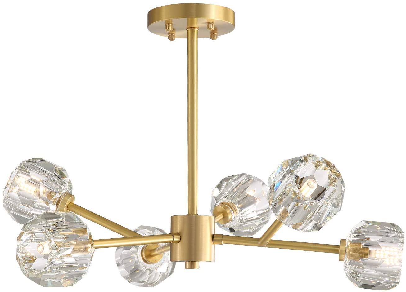NOXARTE Brass Sputnik Chandelier Lighting Modern Pendant Lamp with Crystal Globe Shade Gold Ceiling Light Fixture 6 Lights for Dining Room Bedroom