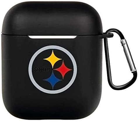 American Football for AirPods Case Cover, Airpods 2 and 1 Silicone Protective Case Dust Guard Shockproof Cover Skin with Carabiner, Compatible for Apple Airpods Charging Case (Fit Steelers)