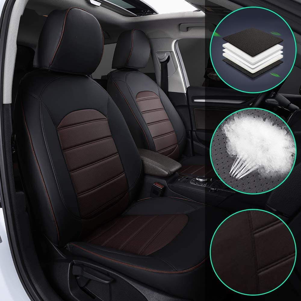 Muchkey Luxury Leather seat Covers for Whole car for Audi 100 1990-1998(no Small armrest) Full Set Front+Rear Cushion Airbag Compatible