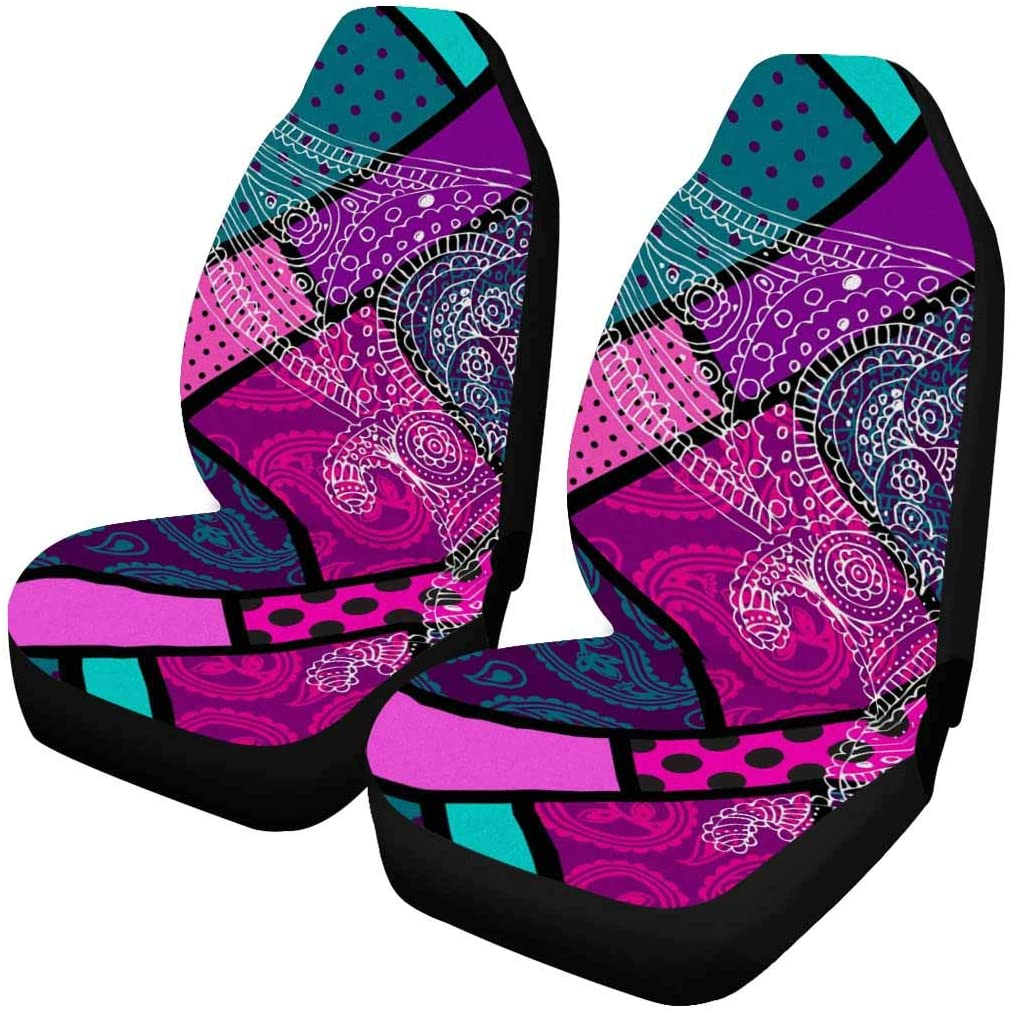 INTERESTPRINT Geometric Diagonal Background with Paisley Auto Seat Protector 2 Pack, Car Front Seat Cushion Fit Car, Truck, SUV or Van