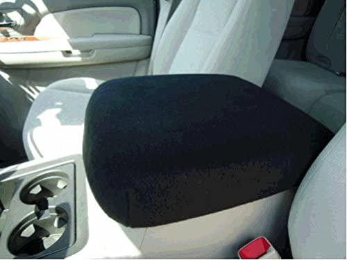Car Console Covers Plus Made in USA Fleece Center Armrest Console Cover Designed to fit Chevy Silverado Models 2007-2013 with Foam Insert, Your Console Should Match Photo Shown Black