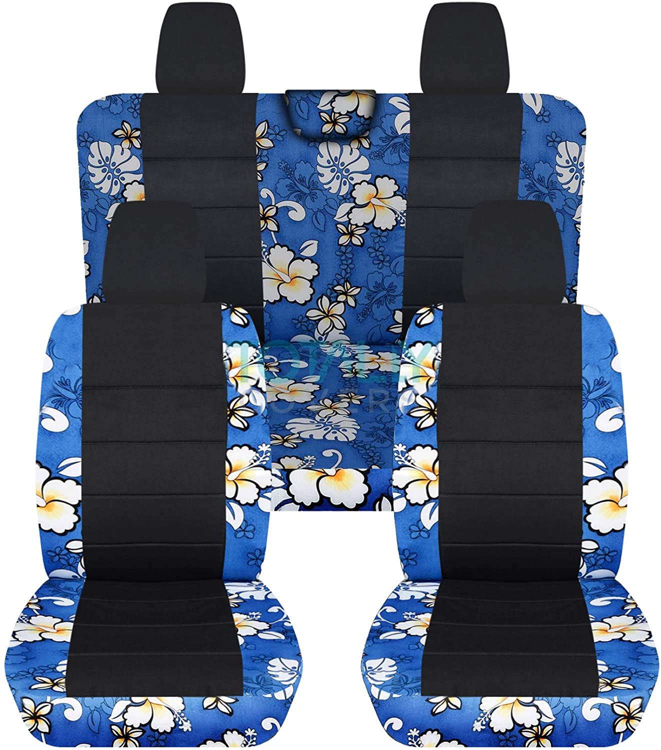 Totally Covers Compatible with 2018-2020 Jeep Wrangler JL Hawaiian & Black Seat Covers: Blue - Full Set: Front & Rear (4 Prints) 2-Door/4-Door Solid/Split Bench Back w/wo Armrest/Headrest