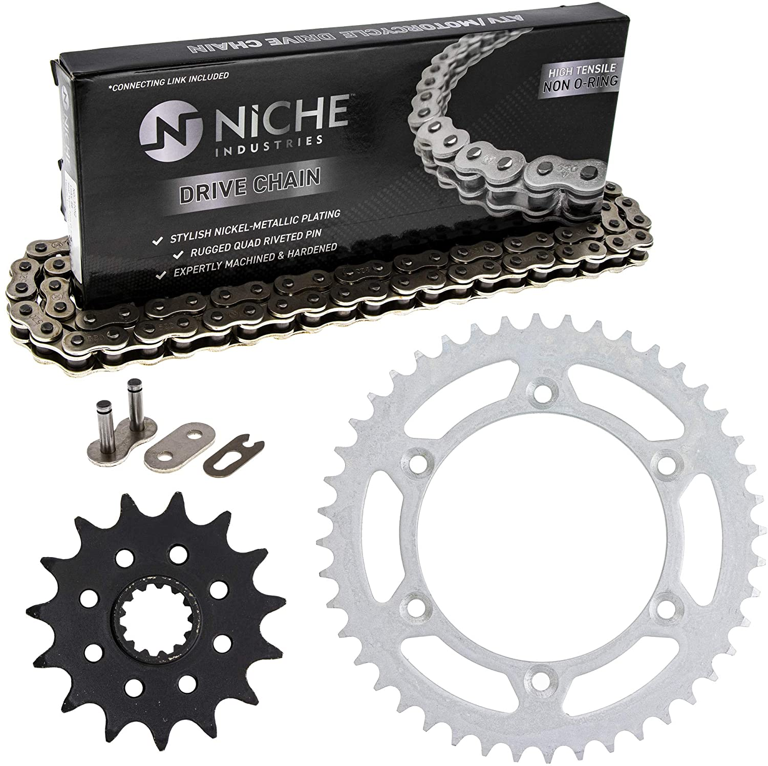 NICHE Drive Sprocket Chain Combo for Suzuki DR350 DR350SE Front 15 Rear 44 Tooth 520NZ Standard 110 Links