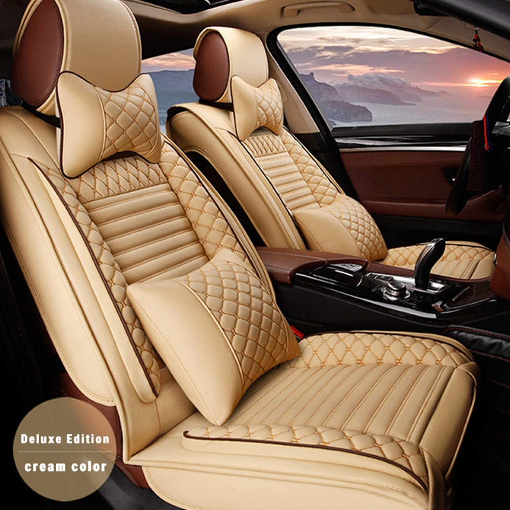 ALLYARD Car Seat Covers for BMW M3 E30 F80 E90 E92 2001 5-Seat Custom PU Leather Front Rear Seat Pad All Season Protetion Full Set Easy Install(Airbag Compatible) Luxury Beige Yellow