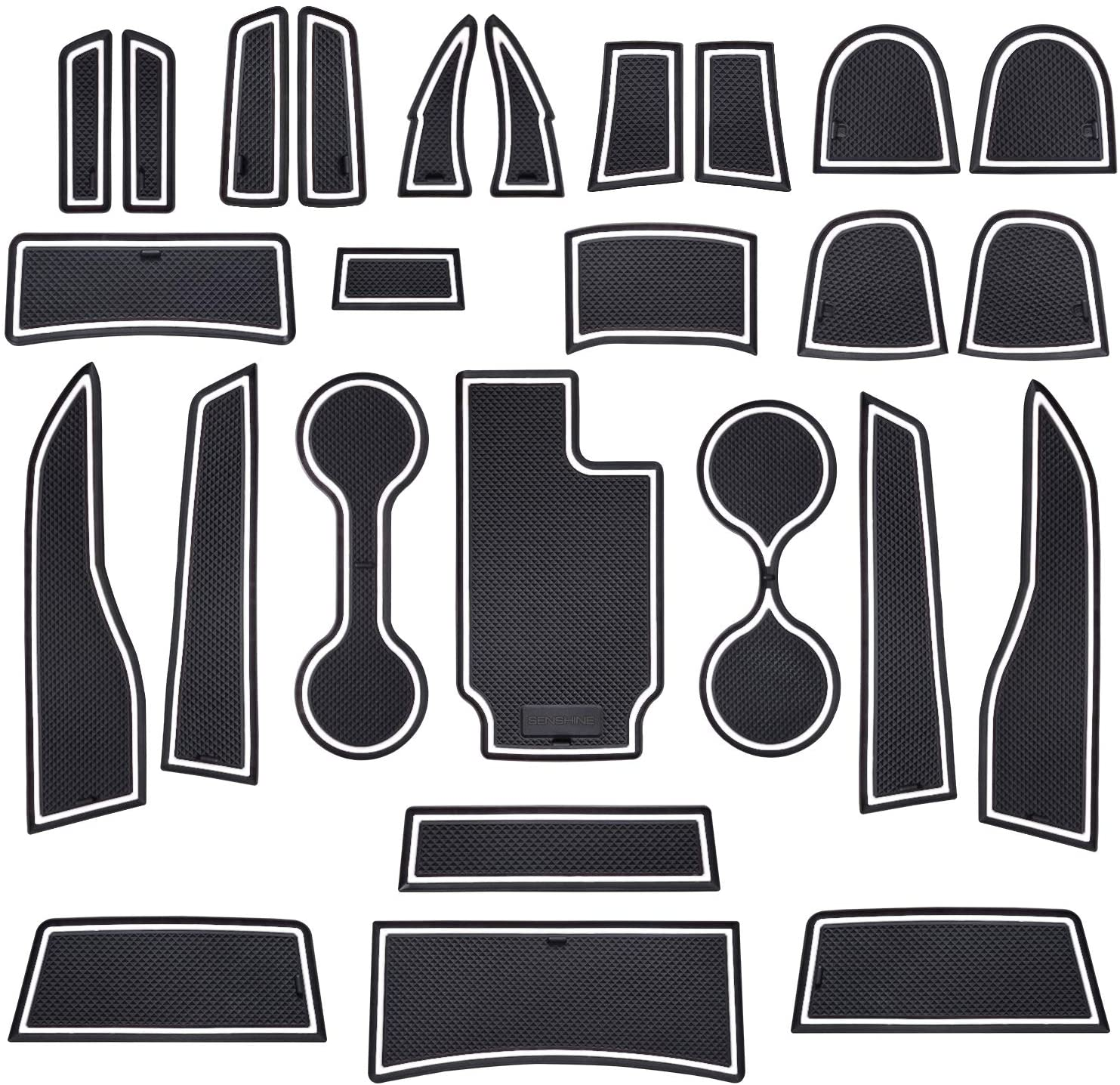 SENSHINE for Chevy Colorado and GMC Canyon Accessories 2021 2020 2019 2018 2017 2016 2015 Custom Liner Interior Cup Holder Inserts, Center Console, Door Pocket Mats 26pc Set (White Trim, Crew Cab)