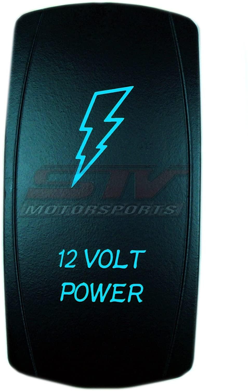 Bright Light Powersports Universal Laser Rocker Switch 12V Power On/Off LED 12 Volt 20Amps (Blue)