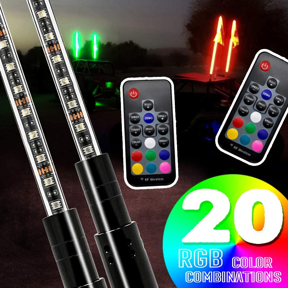 AXECO LED Whip Lights, 2pcs 4ft RGB LED Lighted Antenna Whips with US Flag RF Remote Control for ATV, UTV, Off Road, Trucks, Sand Beach Desert Dune Buggy, Quad, 4X4, SXS