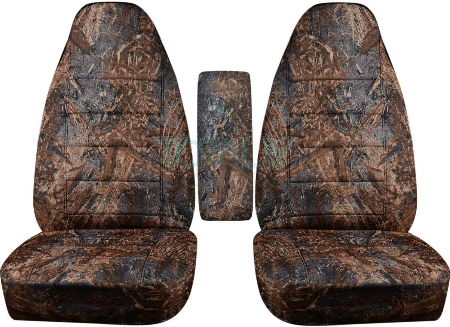 Totally Covers Compatible with 1991-1997 Ford Ranger/Explorer/Explorer Sport & Mazda Navajo/B-Series Camo Truck/SUV Bucket Seat Covers w Center Armrest Cover: Reeds Camouflage