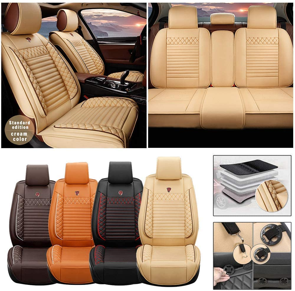 DBL Full Set Car Seat Cover for Porsche Boxster 987 (Airbag Compatible) PU Leatherette Car Seat Cushions Protector (Beige)