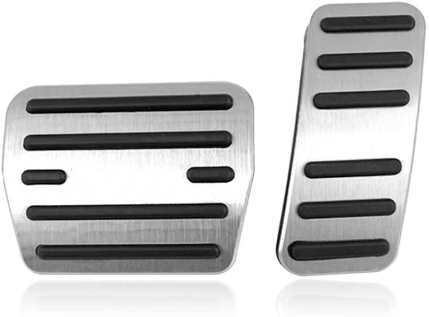 BOYUER Anti-Slip No Drilling Aluminum Brake and Gas Accelerator Pedal Pad Cover For Volkswagen Golf 7,Touran MK2,Tiguan MK2,Passat (B8),Arteon Foot Pedal Pads Kit 2PCS(Sliver)