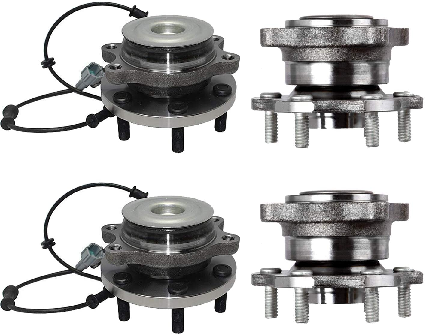 Bodeman - (4) Front and Rear Wheel Bearing and Hub Assemblies for 2005-2012 Nissan Pathfinder - 4WD Only