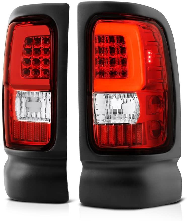 VIPMOTOZ For 1994-2001 Dodge RAM 1500 2500 3500 Pickup Truck Red Lens OLED Neon Tube LED Tail Brake Light Housing Lamp Assembly Driver and Passenger Side Replacement